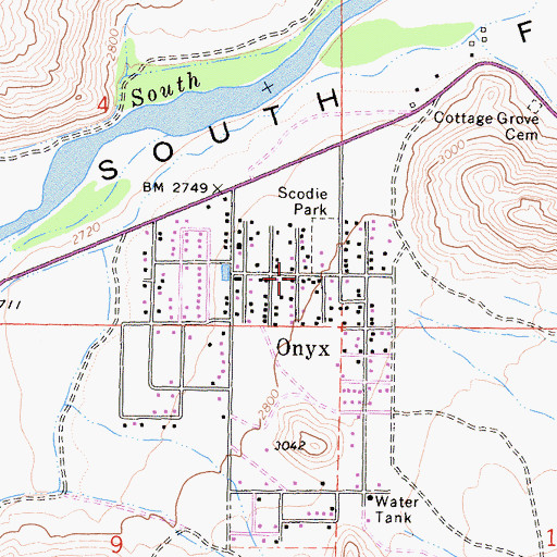 Topographic Map of Onyx, CA
