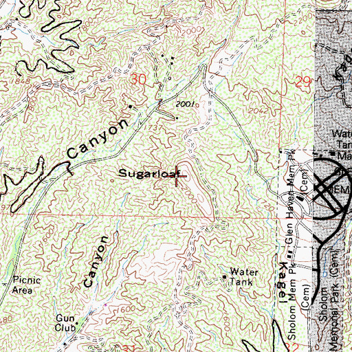 Topographic Map of Sugarloaf, CA
