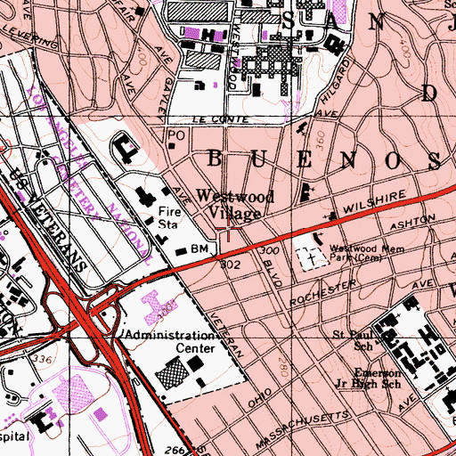 Topographic Map of Westwood Village, CA