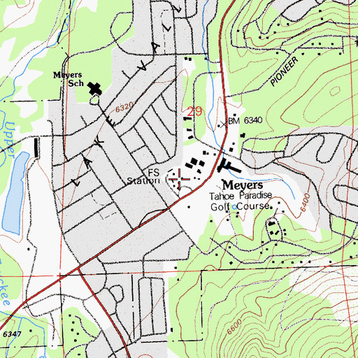Topographic Map of Meyers Station, CA