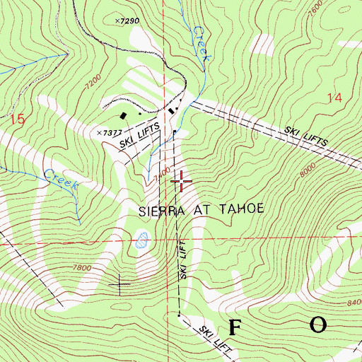 Topographic Map of Sierra Ski Ranch, CA