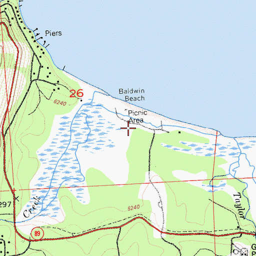 Topographic Map of Baldwin Beach Campground, CA