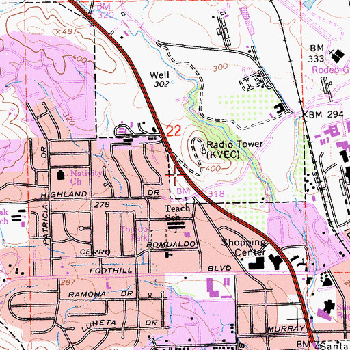 Topographic Map of KJDJ-AM (San Luis Obispo), CA