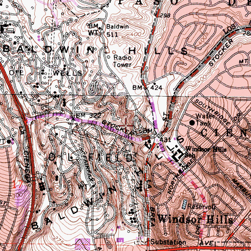 Topographic Map of KJLH-FM (Compton), CA