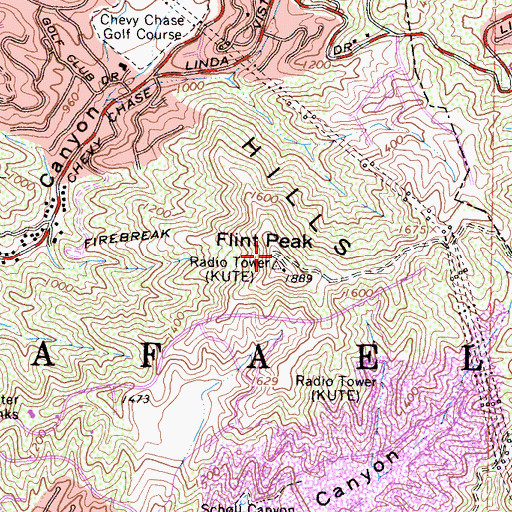 Topographic Map of KPWR-FM (Los Angeles), CA