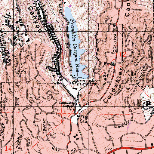Topographic Map of Lower Franklin 6-014 Dam, CA
