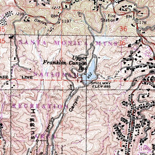 Topographic Map of Upper Franklin 6-027 Dam, CA