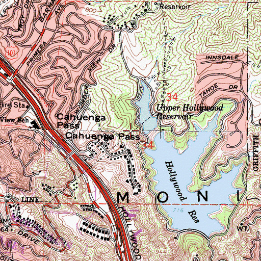 Topographic Map of Upper Hollywood 6-029 Dam, CA
