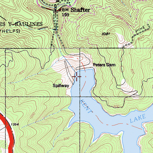 Topographic Map of Kent Lake, CA