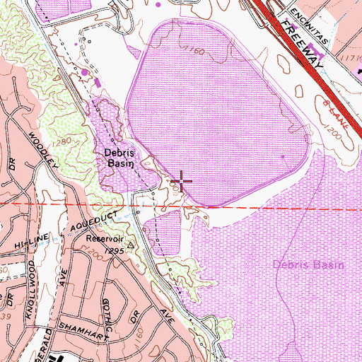 Topographic Map of Los Angeles Reservoir 6-050 Dam, CA