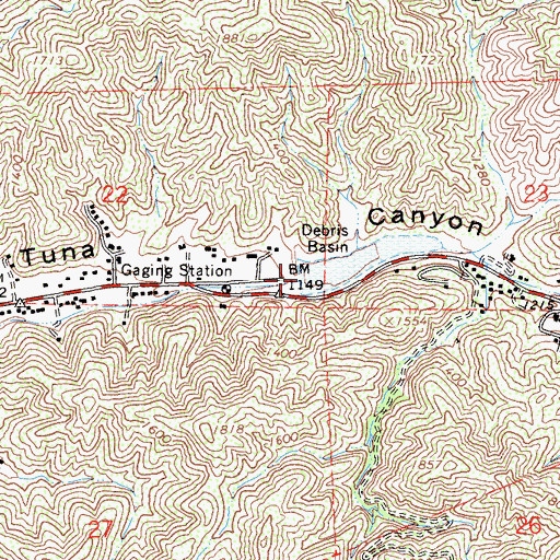 Topographic Map of La Tuna Debris Dam, CA