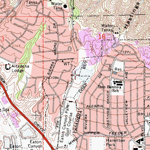 Topographic Map of Sierra Madre Villa Debris Dam, CA