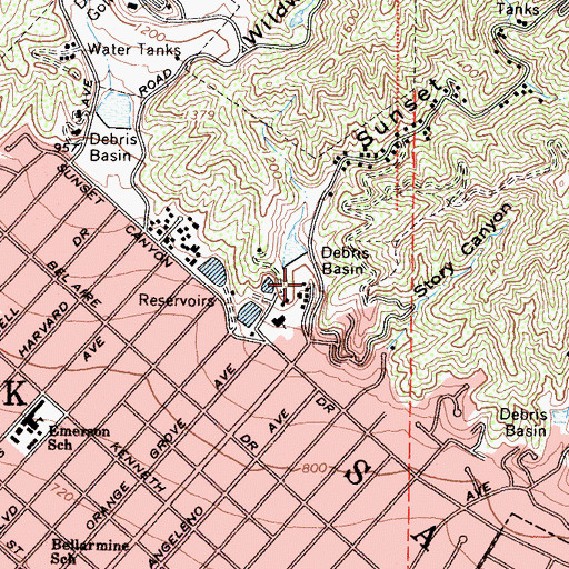 Topographic Map of Sunset Debris Dam, CA