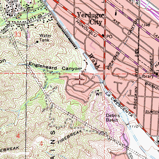 Topographic Map of Verdugo Wash Debris Basin Dam, CA