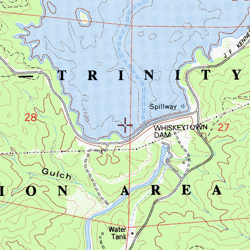 Topographic Map of Clair A. Hill Whiskeytown Dam, CA