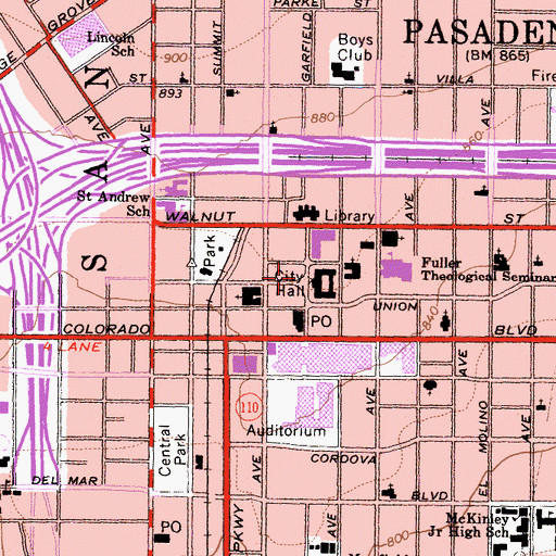 Topographic Map of Pasadena, CA