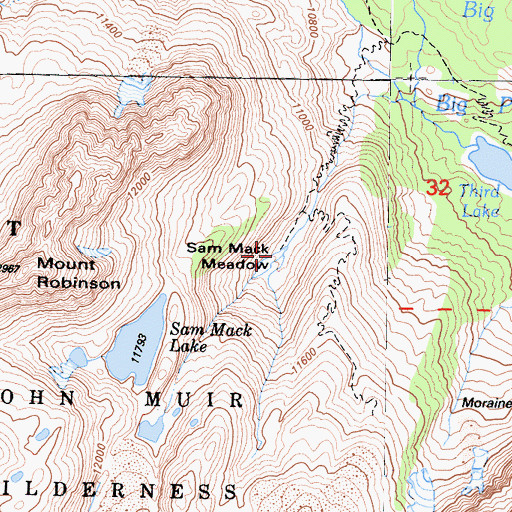 Topographic Map of Sam Mack Meadow, CA