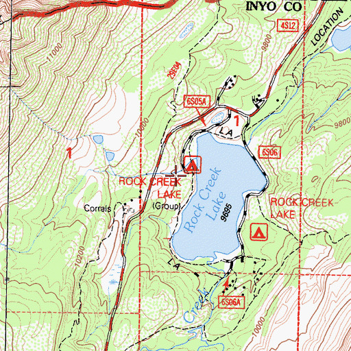 Topographic Map of Rock Creek Lake Campground, CA