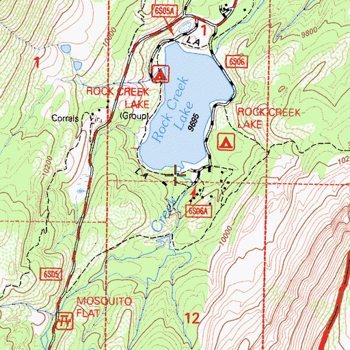 Topographic Map of Lake Inlet Campground, CA