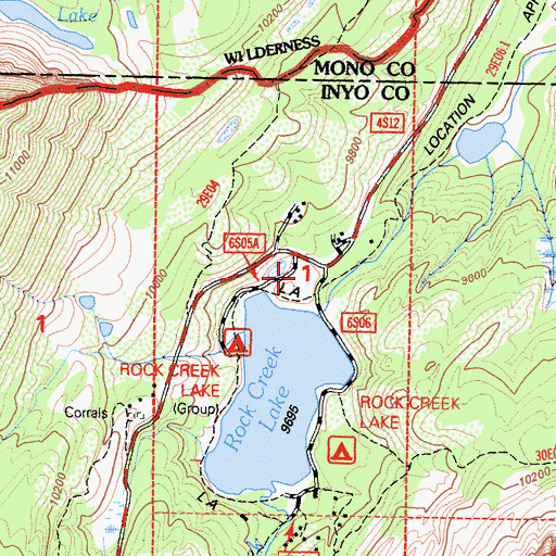 Topographic Map of Lake Outlet Campground, CA