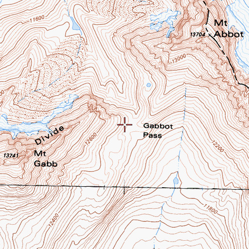 Topographic Map of Gabbot Pass, CA