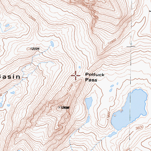 Topographic Map of Potluck Pass, CA