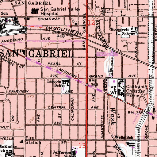 Topographic Map of East San Gabriel, CA