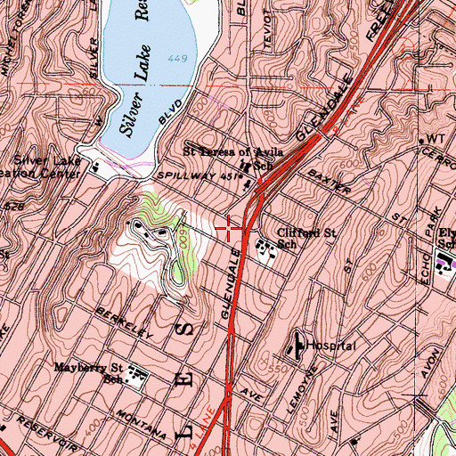 Topographic Map of Edendale (historical), CA