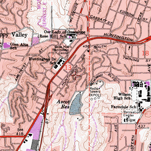 Topographic Map of Omaha Heights, CA