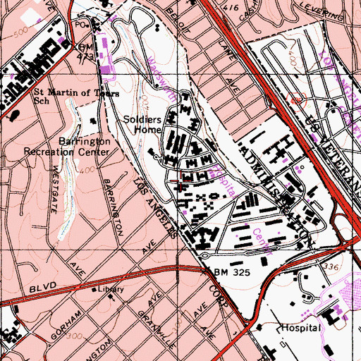 Topographic Map of Wadsworth Hospital Center, CA