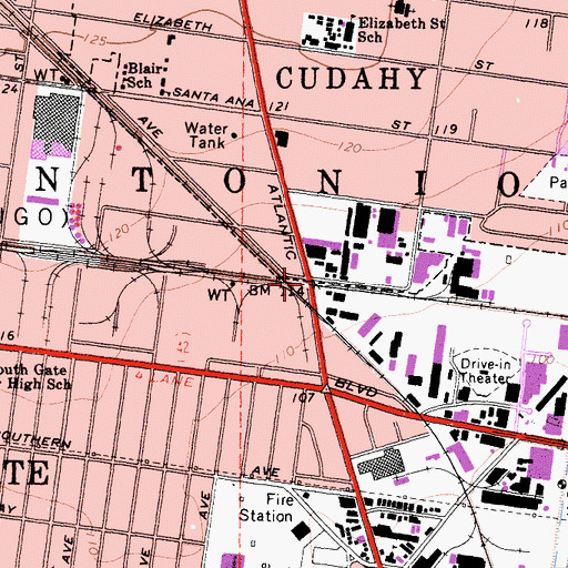 Topographic Map of Cudahy Station (historical), CA