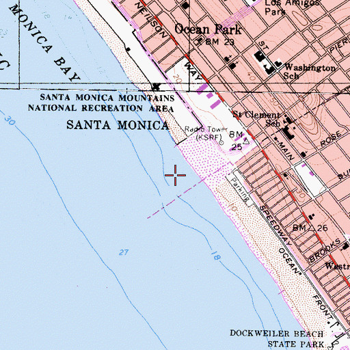 Topographic Map of Ocean Park Pier (historical), CA