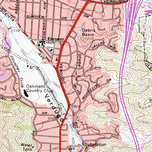 Topographic Map of Sparr Heights, CA