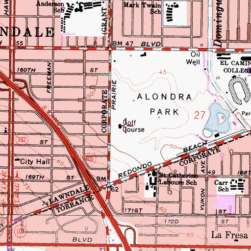 Topographic Map of Alondra Golf Course, CA