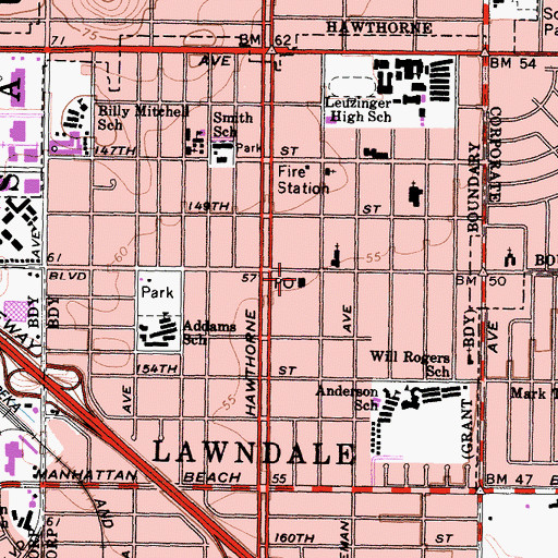 Topographic Map of Lawndale Post Office, CA