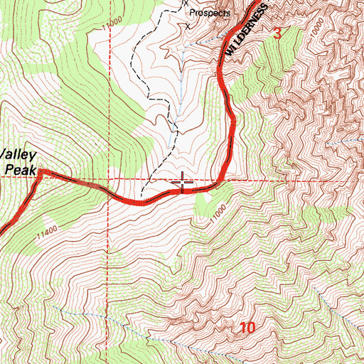 Topographic Map of Round Valley Peak Prospect, CA