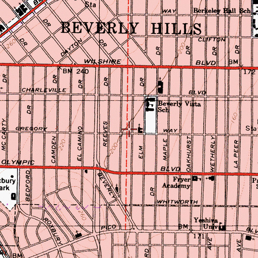 Topographic Map of Beverly Vista Community Church, CA