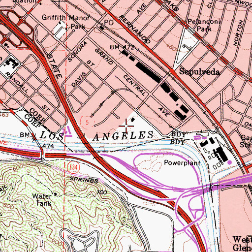Topographic Map of Grand Central Air Terminal (historical), CA