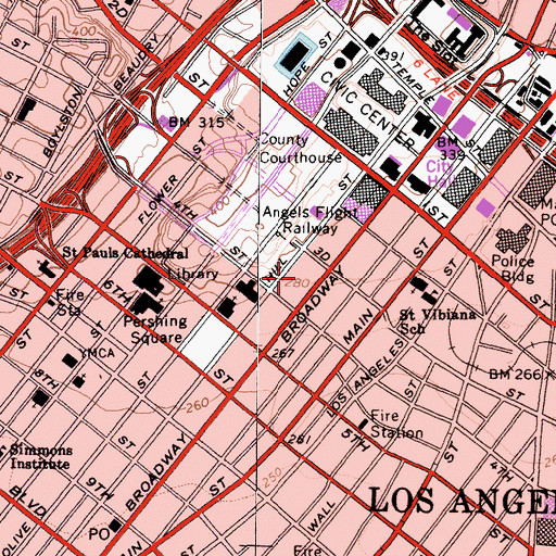 Topographic Map of Grand Central Market, CA