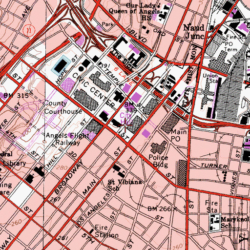Topographic Map of Los Angeles City Hall, CA