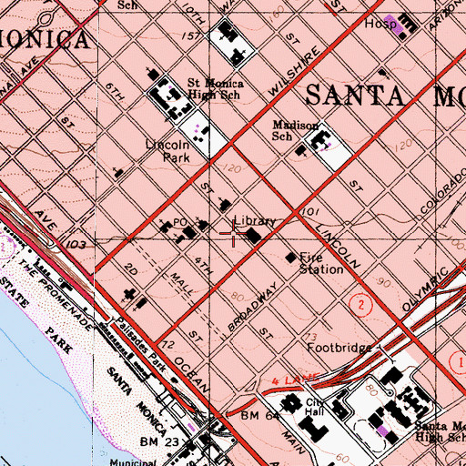 Topographic Map of Santa Monica Public Library, CA