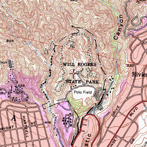 Topographic Map of Will Rogers Ranch, CA