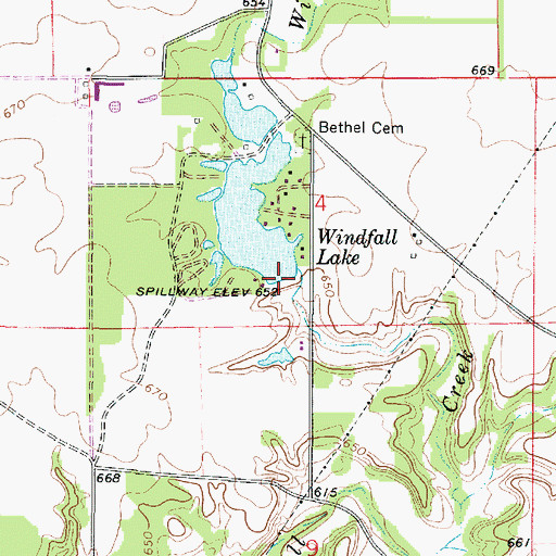 Topographic Map of Windfall Lake Dam, IL