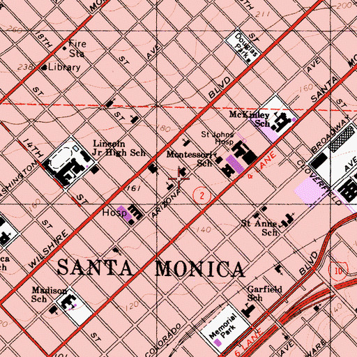 Topographic Map of City of Santa Monica Fire Department Station 3, CA