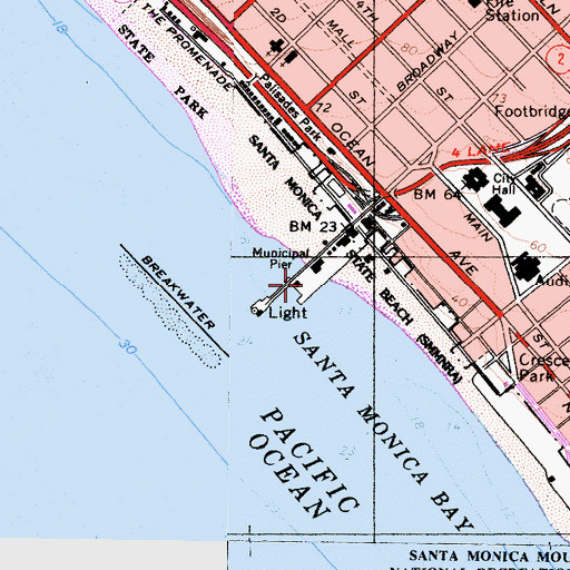 Topographic Map of Newcomb Pier, CA
