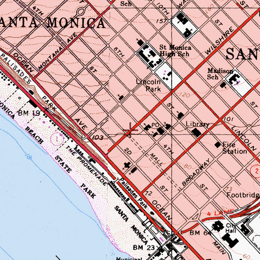 Topographic Map of Santa Monica Bay Womans Club, CA