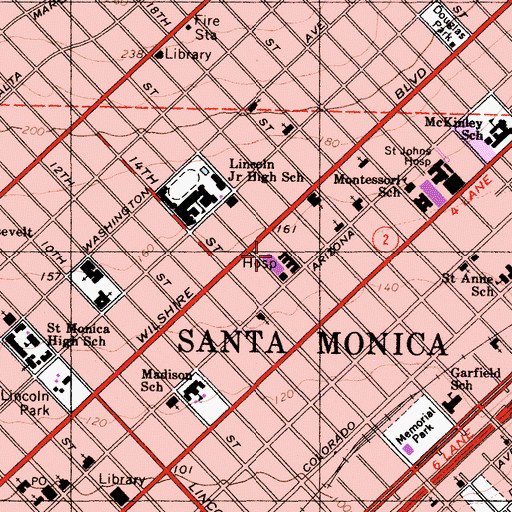 Topographic Map of Santa Monica University of California Los Angeles Orthopaedic and Medical Center, CA