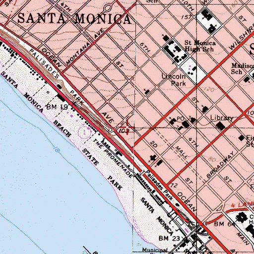 Topographic Map of Santa Monica Medical Center, CA