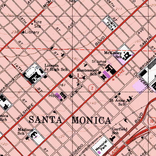 Topographic Map of Santa Monica Seventh Day Adventist Church, CA
