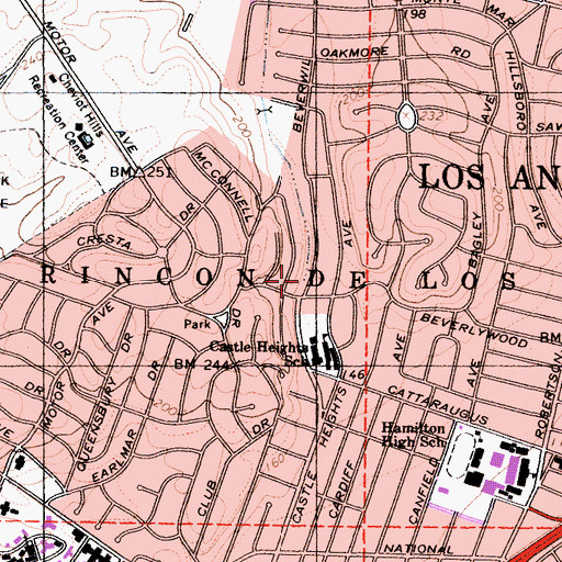 Topographic Map of Irving Schachter Park, CA